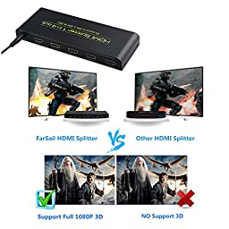 FarSail 1 in 4 out HDMI Audio Splitter, Supports 2K x 4K 1080P and 3D