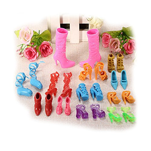 Miniature 12 Pairs Fashion Dolls Shoes Heels Sandals Set For Barbie Doll DIY Dollhouse Accessories ZevenMart