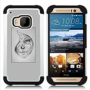 - woman mysterious Halloween tattoo - - Doble capa caja de la armadura Defender FOR HTC ONE M9 RetroCandy