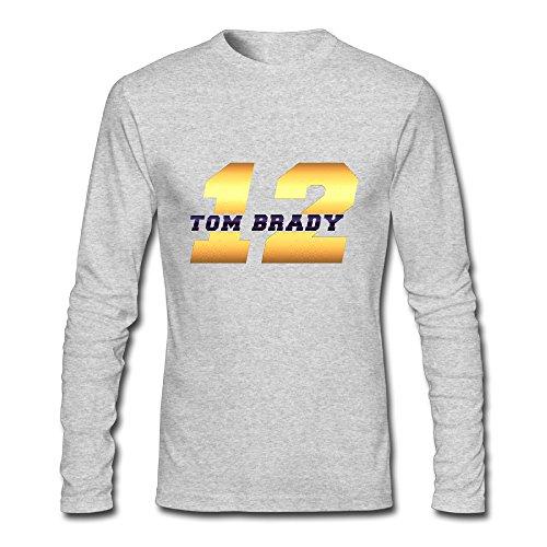 Men's Fashion Tom Brady 12 Logo Long Sleeve T Gray US Size XXL