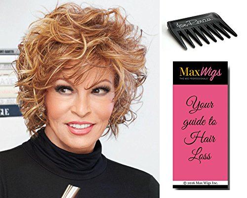 Chic Alert Lace Front Color RL19/23SS SHADED BISCUIT - Raquel Welch Wigs Heat Friendly Synthetic Tousled Curly Volume Women's Memory Cap II Bundle with Wig Comb, MaxWigs Hairloss Booklet by Raquel Welch Wigs