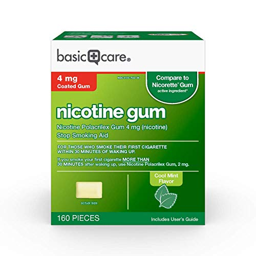 Amazon Basic Care Nicotine Polacrilex Coated Gum 4 mg (nicotine), Mint Flavor, Stop Smoking Aid; quit smoking with…