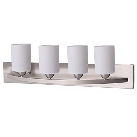 Tangkula bathroom vanity lamp brushed nickel wall mounted vanity tangkula bathroom vanity lamp brushed nickel wall mounted vanity lighting fixture with white glass shade wall aloadofball Image collections
