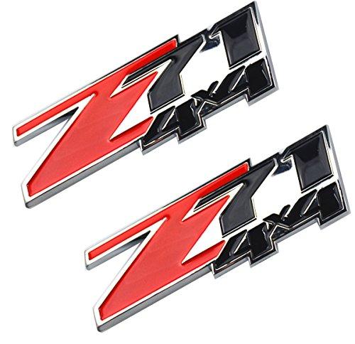 Aimoll 2pcs Z71 4x4 emblems Badges, 3D ABS Decal emblems for Chevy GMC Silverado Tahoe Suburban Sierra (Red Black)