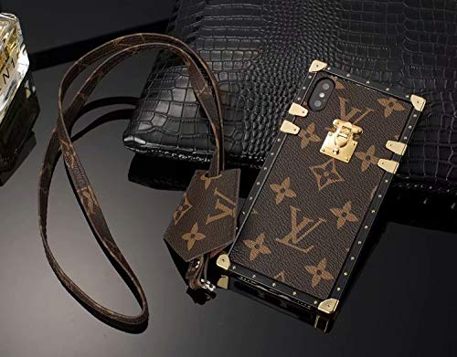 Trunk iPhone X XS Case, Elegant Luxury Leather Vintage Lovely Designer Lanyard iPhone Cover Case for iPhone X XS(Brown) (Versace X Gucci)