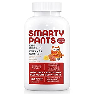 SmartyPants Kids Complete Gummy Vitamins: Multivitamin & Omega 3 DHA/EPA Fish Oil, Methylfolate, Methyl B12, Vitamin D3, 120 count (30 Day Supply)