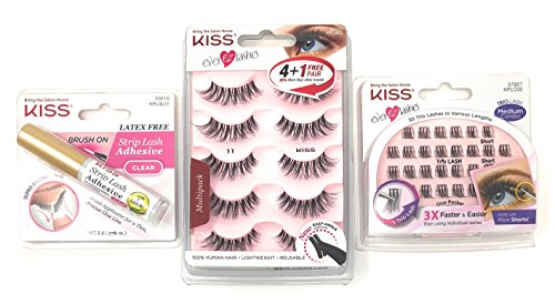 57660f5b76a Kiss Ever EZ Lashes #11 (5 pairs) Bundled with Strip Eyelash Clear Adhesive  with Aloe and 30 Trio Lashes in Various Length - Buy Online in KSA.