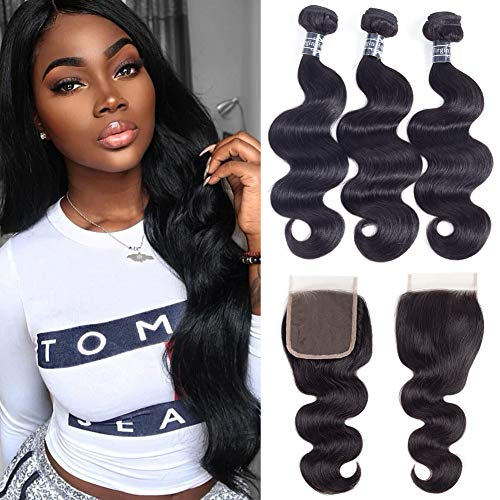 Amella Hair 8A Grade Brazilian Virgin Body Wave 3 Bundles with Free Part Closure (18 20 22+18Closure)100% Unprocessed Brazilian Hair Weft With 4x4 Lace Closure