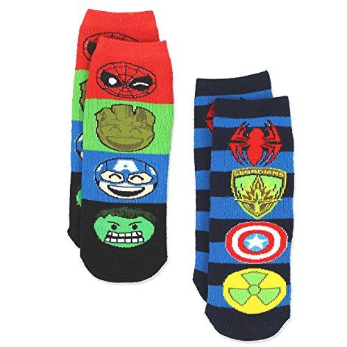 Marvel Comics 2 pack Boys Teen Superhero Slipper Socks with Grippers (S-M Toddler (Shoe: 7-10), Blue)