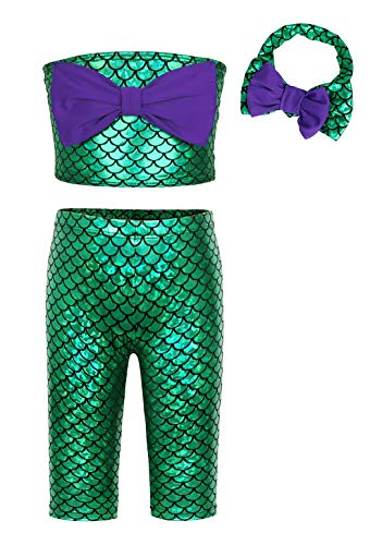 HenzWorld Little Mermaid Swimsuit Costume Kit Ariel Princess Dress Up Cosplay Birthday Beach Party Outfit