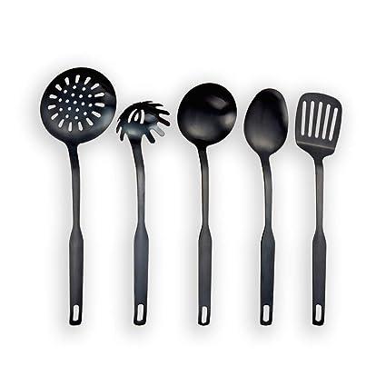Berglander Titanium negro plateado acero inoxidable utensilios de cocina 5 piezas, sintonizador ranurado, cucharón