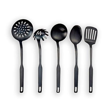 Berglander Titanium negro plateado acero inoxidable utensilios de cocina 5 piezas, sintonizador ranurado, cucharón, espumadera, cuchara de servicio, ...