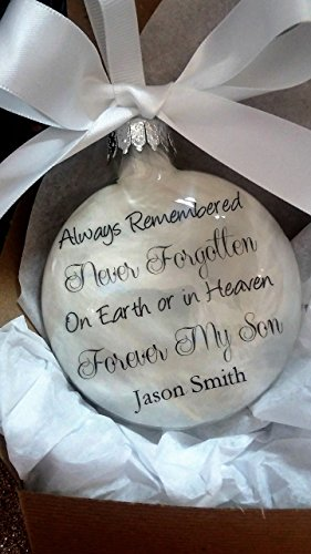 Son Memorial Ornament In Memory Christmas Keepsake On Earth or in Heaven Forever My Son Personalized