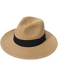 3f0c0ad24fa0e Womens UPF50 Foldable Summer Straw Hat Wide Brim Fedora Sun Beach hat