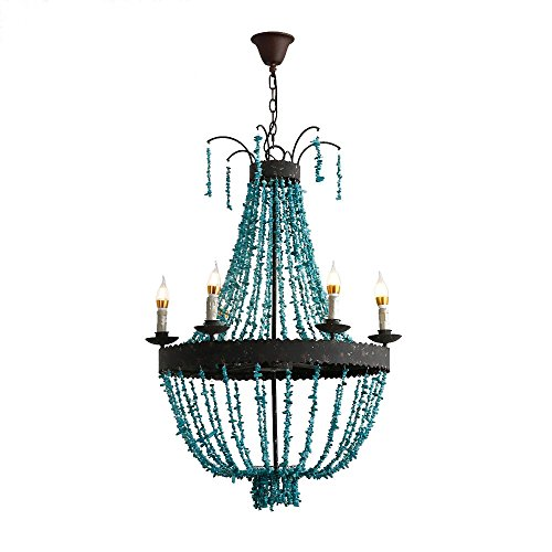 KunMai Vintage Style Turquoise Bead Strands & Rust Metal Frame 5-Light Large Chandelier Review