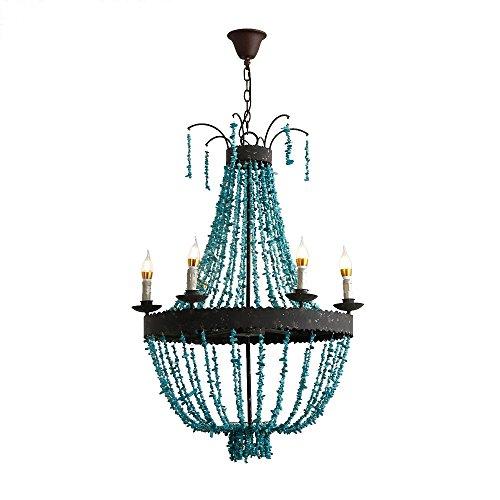 (KunMai Vintage Style Turquoise Bead Strands & Rust Metal Frame 5-Light Large Chandelier)