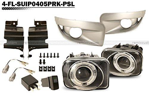 Halo Fog Lamps For 2004-2005 Subaru Impreza WRX STI Halo Projector Fog Lights with Silver Covers