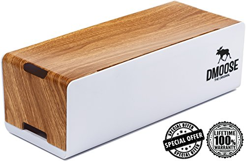 Cable Management Box Organizer by DMoose - Wooden Style - Hides Power Strips, Surge Protectors & Cords. Large Size for Entertainment Center, Home Office, Computers – Kids & Pet - Center Premium Outlet