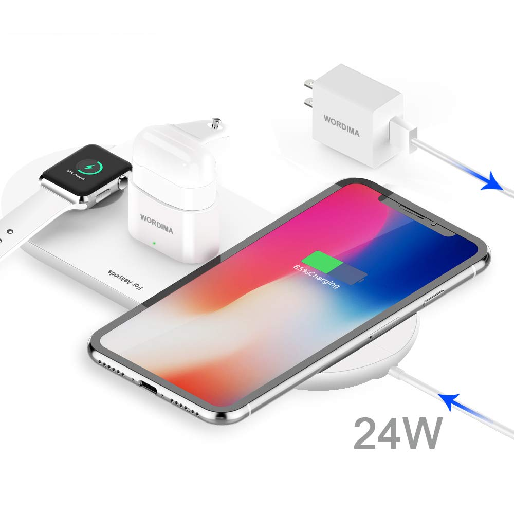 WORDIMA Wireless Charging Pad, 3-in-1 Multiple Devices Wireless Charger Dock 10W/7.5W Fast Charge Station Compatible with Apple Watch Series 1 2 3 4 Airpods 1 2 iPhone 8, 8 Plus, X, Xr, Xs, Xs Max