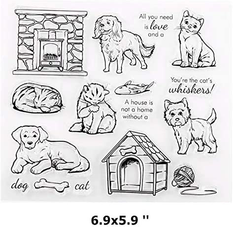 Tikkii 2-Pack Cat Dog Clear Stamps Cute Pet Rubber Stamper for Card Making and Scrapbooking