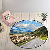 Round Bathroom Rugs 6.5 ft Round - Landscape Absorb Water Rug Road in The Alps Small Town with Colorful Houses Clouds Clear Sky Rural Scenery, Multicolor