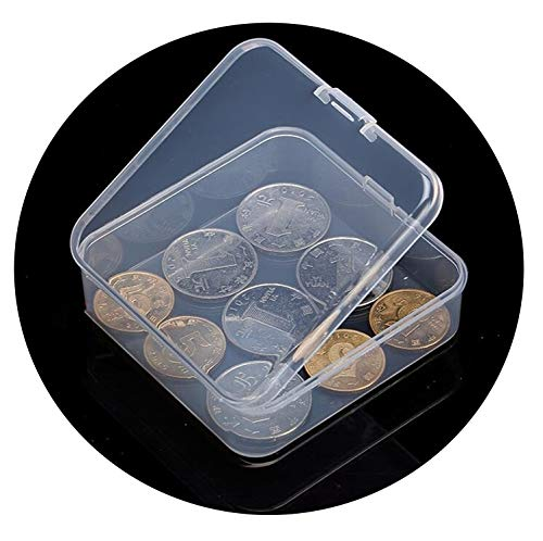 Clear Lidded Small Plastic Box for Jewelry Display Box Screw Case Beads Container,7.4x7.4x2.5cm (Brookhaven Leather)