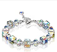 WEILYDF Pendant Necklace Unisex Luxury Imitation Gemstone Necklace Exquisite Leaf Wrapped Crystal Necklace