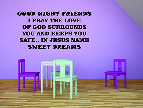 """KIDS AND BABY BEDROOM GOOD NIGHT AND SLEEP WELL GOOD QUOTES / BEDTIME NIGHT TIME WALL DECAL VINYL DECAL STICKERS FOR WALLS AND KID ROOM AND DECORATION CUTE QUOTES """"GOOD NIGHT FRIENDS"""" Size 20x20inch"""