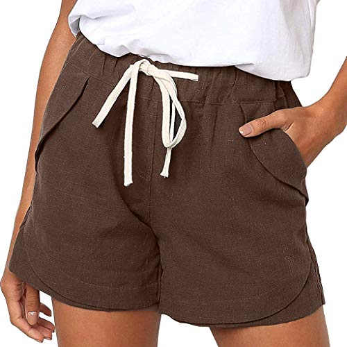 (Women Cotton Linen Shorts Pants Casual Solid Color Pockets Bandage Elastic Waist Shorts Beautyfine Coffee)