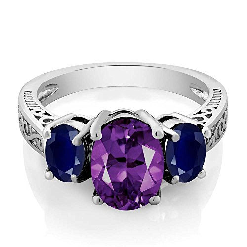 (Gem Stone King Sterling Silver Purple Amethyst and Blue Sapphire 3-Stone Women's Ring (2.76 Cttw, Gemstone Birthstone Available 5,6,7,8,9) (Size 9))