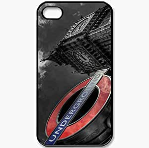 Protective Case Back Cover For iPhone 4 4S Case England London Big Ben Black