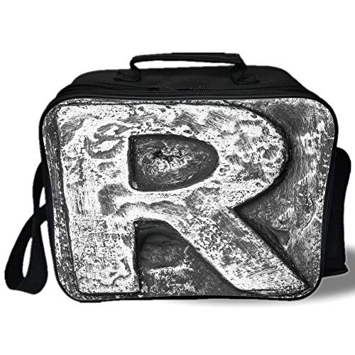 (Letter R 3D Print Insulated Lunch Bag,Iron Toned Uppercase R Referring to Somebody Old School Initials Aristocratic Print Decorative,for Work/School/Picnic,Grey)