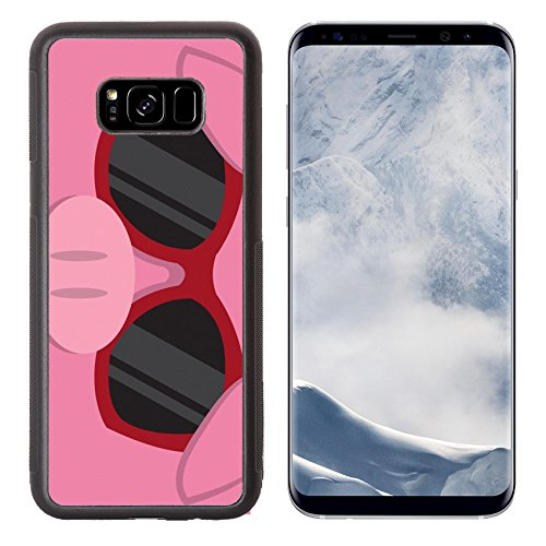 Liili Premium Samsung Galaxy S8 Plus Aluminum Backplate Bumper Snap Case IMAGE ID: 18010975 Cartoon pig head with - With Character Sunglasses Cartoon