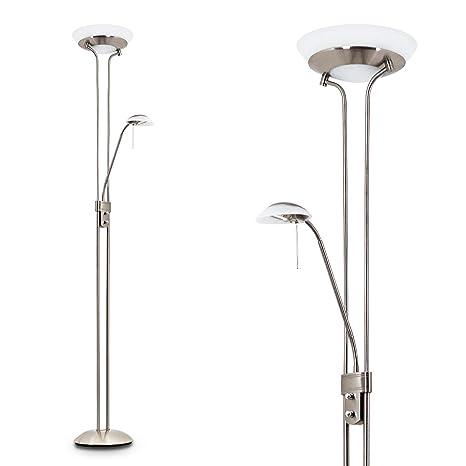 Lámpara de techo de níquel mate - Lámpara de pie con brazo de lectura ajustable para el salón y dormitorio. La lámpara de techo y la de lectura se ...