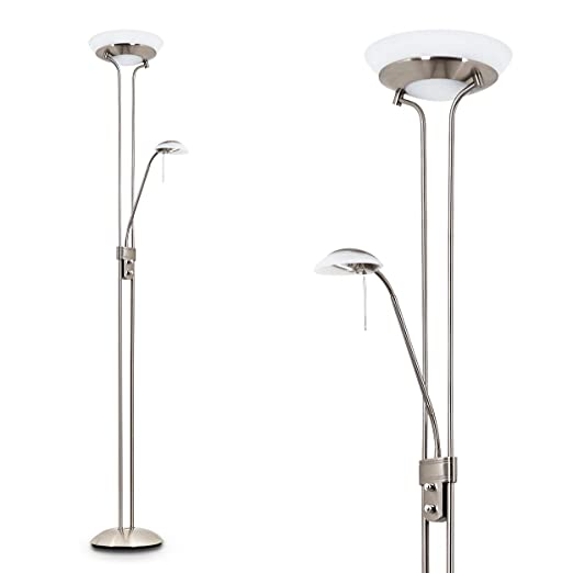 Lámpara de techo de níquel mate - Lámpara de pie con brazo de lectura ajustable para el salón y dormitorio. Lámpara de pie para oficina, la lámpara de ...