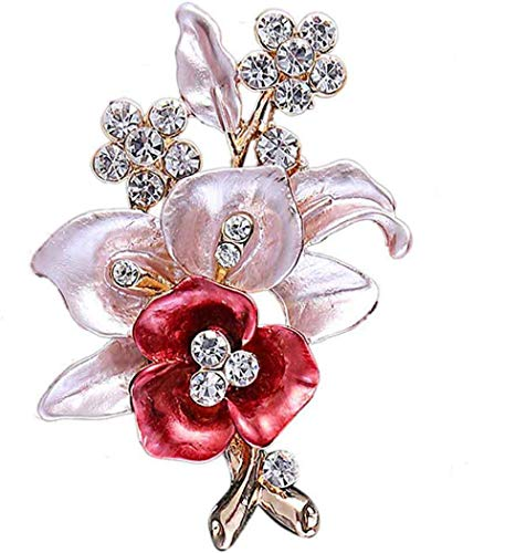 TULIP LY Gold Plated Crystal Brooch Enamel Flower Brooch Pin Vintage Style Brooch Pin Fashion Brooches Alloy for Women Girl (red Flower ()