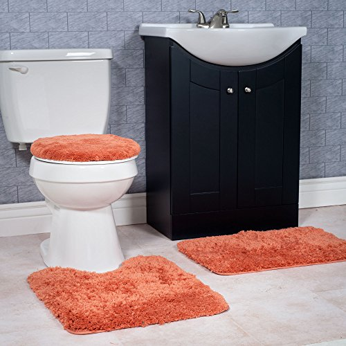 lavish home 3 piece super plush non slip bath mat rug set rust new ebay