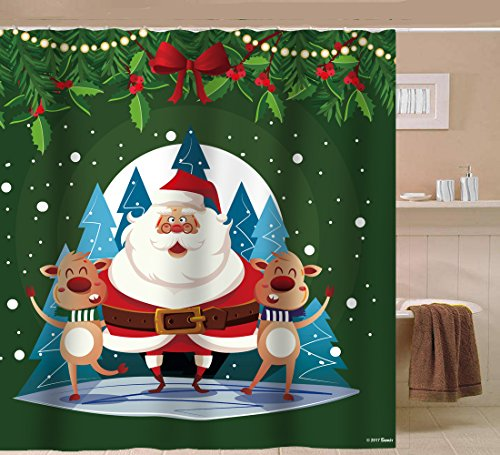 (Sunlit Happy Santa Claus Waterproof Fabric Polyester Shower Curtain 72