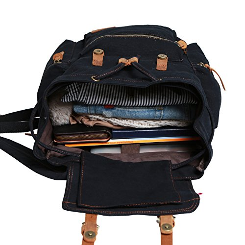 Wowbox 15.6 Inch Laptop Canvas Backpack Unisex Vintage Leather Casual Rucksack School College Bags Satchel Bookbag Large Capacity Hiking Travel Rucksack Business Daypack for Men and Women(Black)