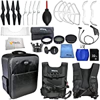 Accessory kit for DJI Phantom 4 includes Backpack + 2 Pairs of Carbon Fiber Propellers + 2 Pairs of White Propeller Blades + 32GB SD Memory Card + High Speed Card Reader & More!