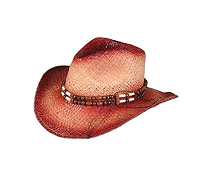 8cac0183dd9a3 Amazon.com  Rhode Island Novelty New 2-Tone Woven Cowboy Cowgirl Hat with  Beaded Band