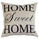 YKA Pillow Cover Home Decor Cotton Linen English Alphabet Throw Sofa Pillow Case Car Cushion Cover 45x45 cm (Home Sweet Home)