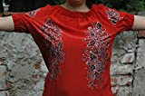Hand Painted Red Silk Blouse, Red Roses Blouse, Roses Flowers Women's Blouse, Women's Roses Style Blouse, Roses Silk Top, Size L.