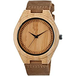 Zeiger Bamboo Wooden Watch with Brown PU Leather Strap Quartz Analog Casual Wood Watches ( Bamboo)