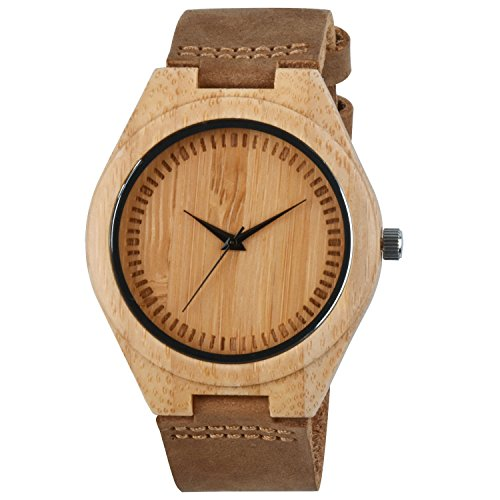 Zeiger Mens Bamboo Wooden Watch with Crazy Horse Leather for sale  Delivered anywhere in USA