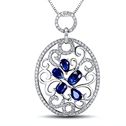White Gold With Blue Sapphire Diamond Pendant