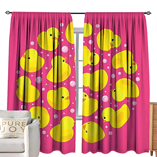 (cobeDecor Half Blackout Curtains: Rubber Duck Fun Baby Duckies Circle Artsy Pattern Kids Bath Toys Bubbles Animal Print Pink and Yellow Breathability W84 xL96)