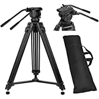ZOMEi VT-2500 Professional Heavy Duty Aluminum Tripod Kit Twin Tubes with Fluid Drag Pan Head Max loading 13.2 Lbs for Pro DV Video Cameras