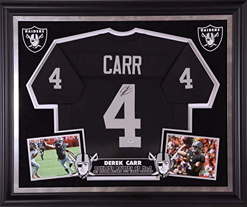 Derek Carr Autographed Signed Deluxe Custom Framed Raiders Jersey Memorabilia - PSA/DNA Authentic