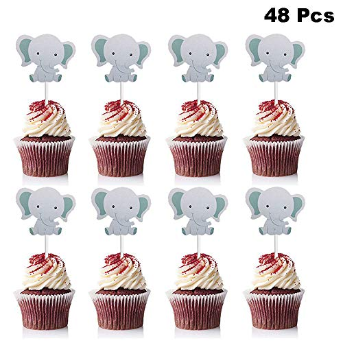 Elephant Themed Baby Shower (Finduat 48 Pack Cute Baby Elephant Cupcake Toppers Birthday Party or Baby Shower Food Picks Decor and Cupcake)